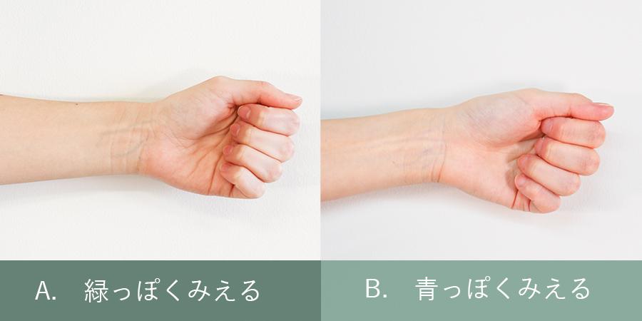 腕の内側から見える血管は何色に見える?