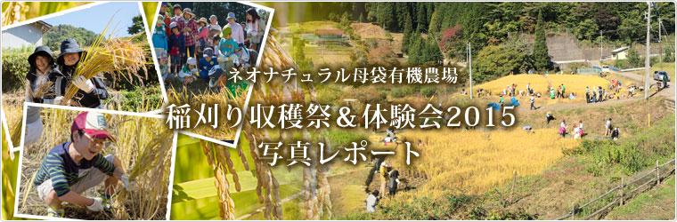 母袋有機農場2015年稲刈り体験会 岐阜県郡上市