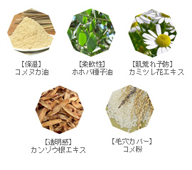 コメヌカ油 ホホバ種子油 カミツレ花エキス カンゾウ根エキス コメ粉