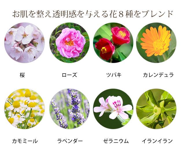お肌を整え透明感を与える花8種をブレンド